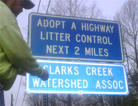 The CCWPA Adopt-a-Highway Sign